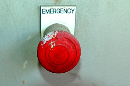 emergency button chipped paint